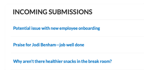 Anonymous online suggestion box showing employee feedback